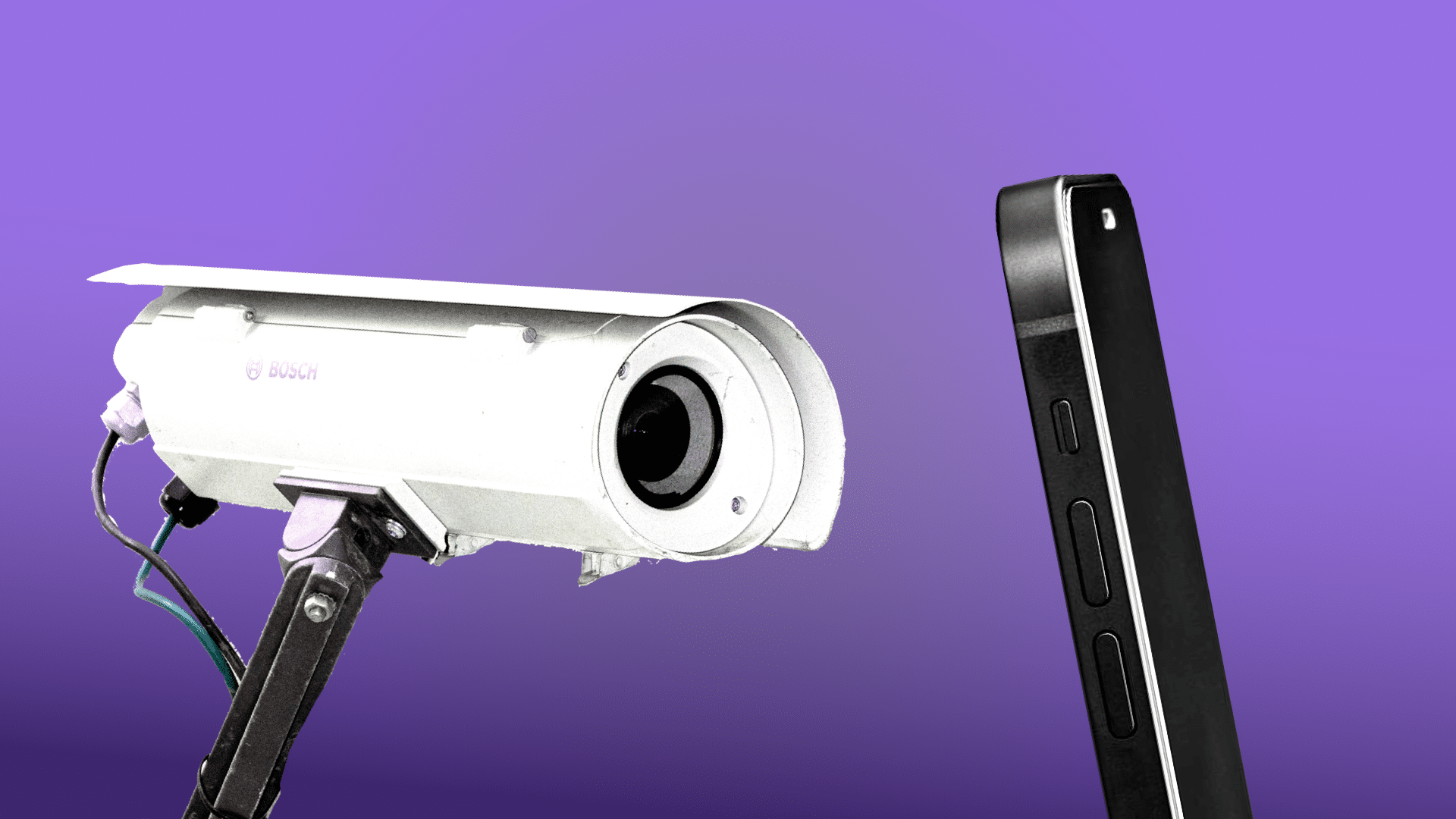 Illustration image of surveillance camera pointed at Phone