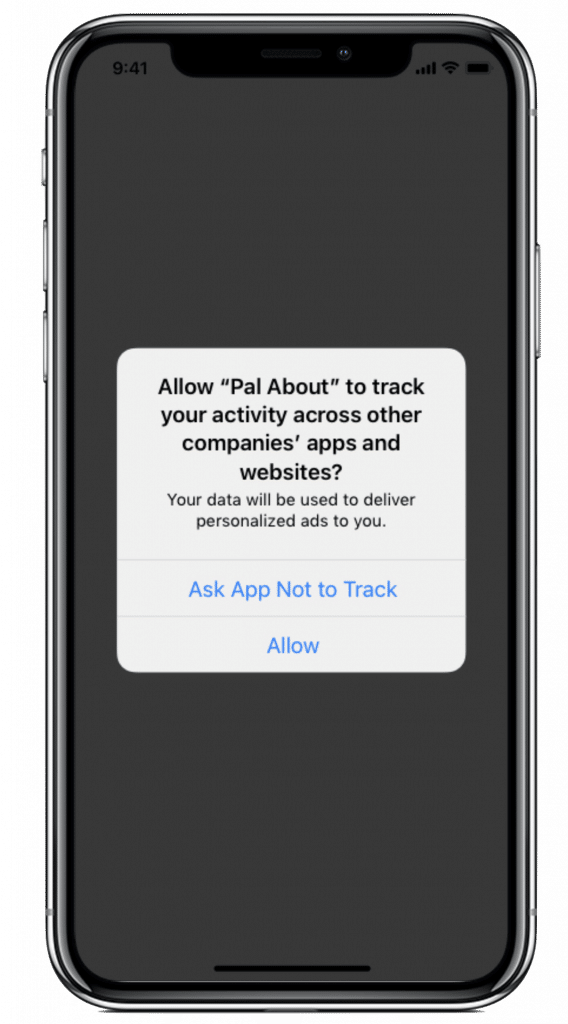 Illustration of App Tracking Transparency on an iPhone